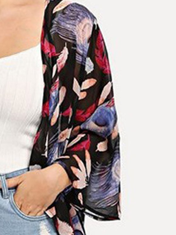 Plus Size Floral Print Long Loose Women's Cardigan Blouse