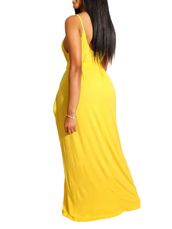 Sleeveless Backless Floor-Length A-Line Women's Dress