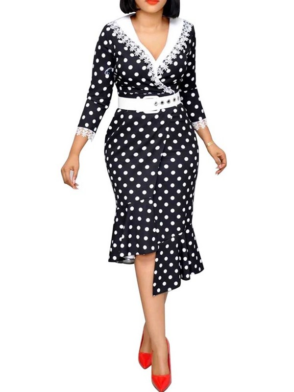 Three-Quarter Sleeve V-Neck Print Women's Dress