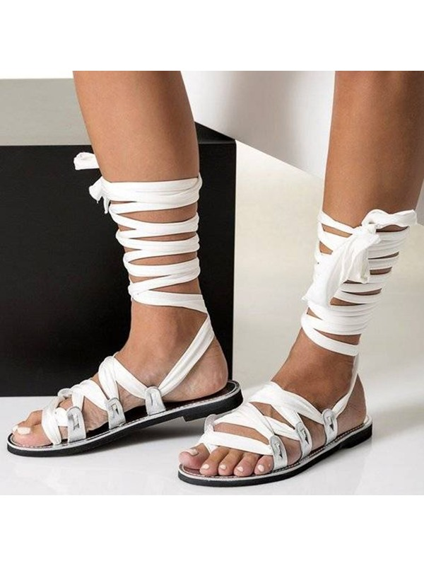 Open Toe Strappy Lace-Up Roman Sandals