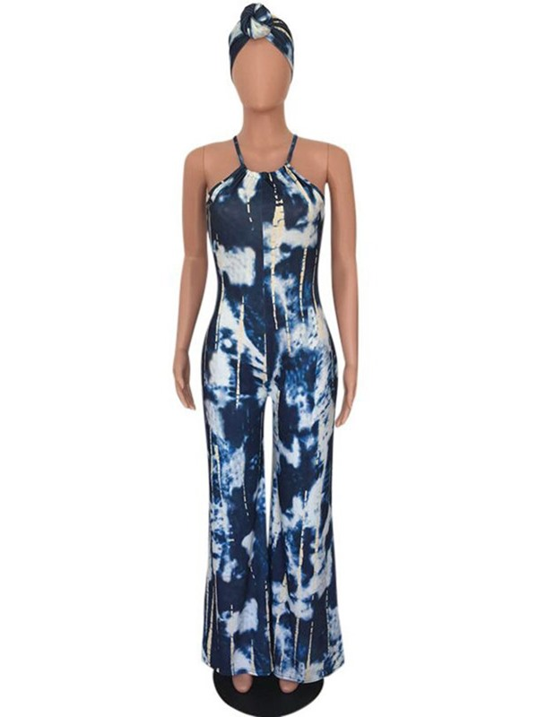 Print Full Length Color Block Slim Women's Jumpsuit