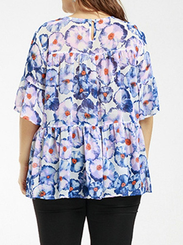 Plus Size Floral Flare Sleeve Pleated Women's Blouse