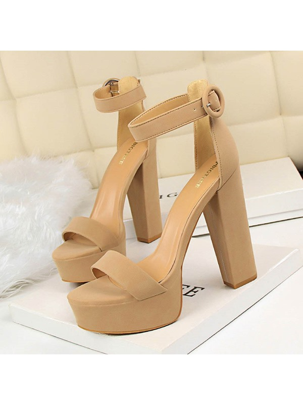Open Toe Chunky Heel Buckle Casual Women's Sandals
