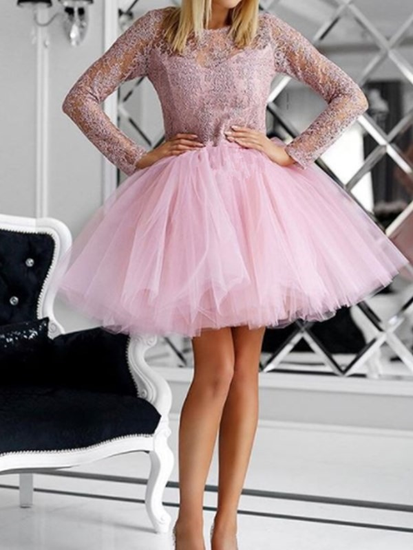 Long Sleeves Appliques Scoop Short Cocktail Dress 2019