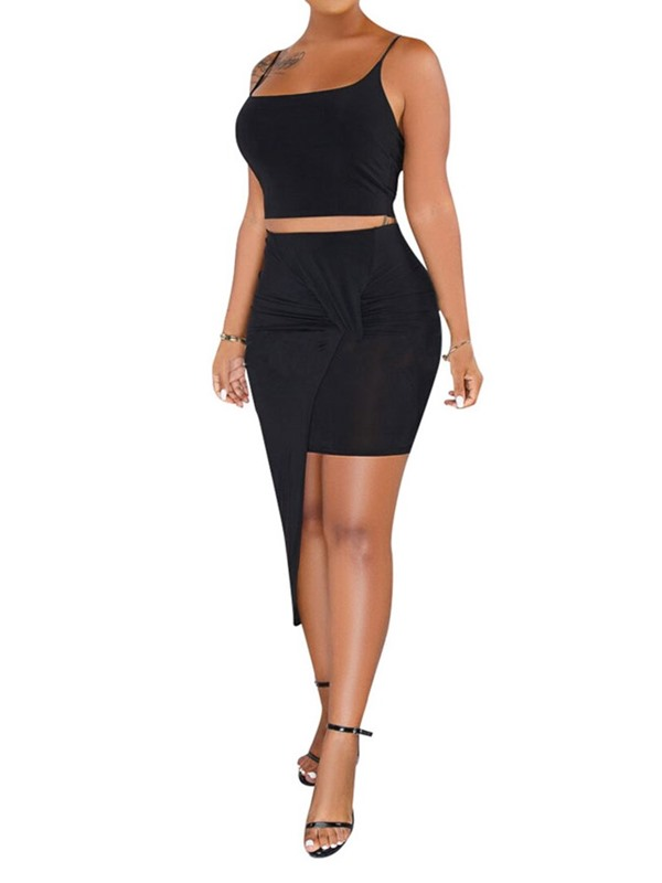 Plain Skirt Strap Pullover Asymmetrical Women's Two Piece Sets