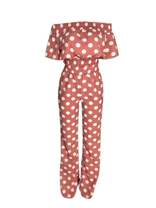 Pants Polka Dots Off Shoulder Pullover Women's Two Piece Sets