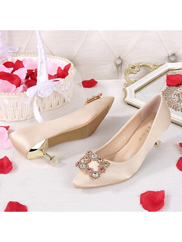 Pointed Toe Cloth Thin Shoes Beads Wedding Shoes