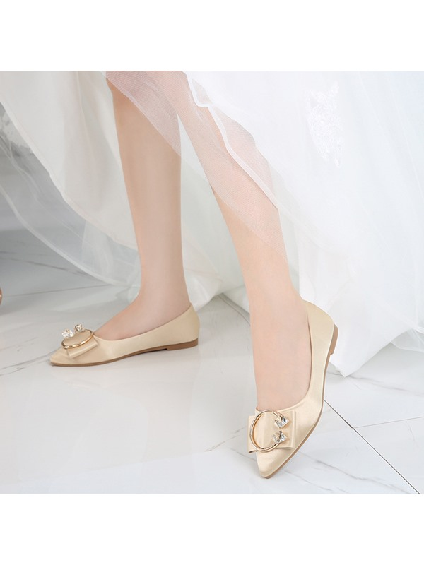 Cloth Low Heel Flat With Pointed Toe Wedding Shoes