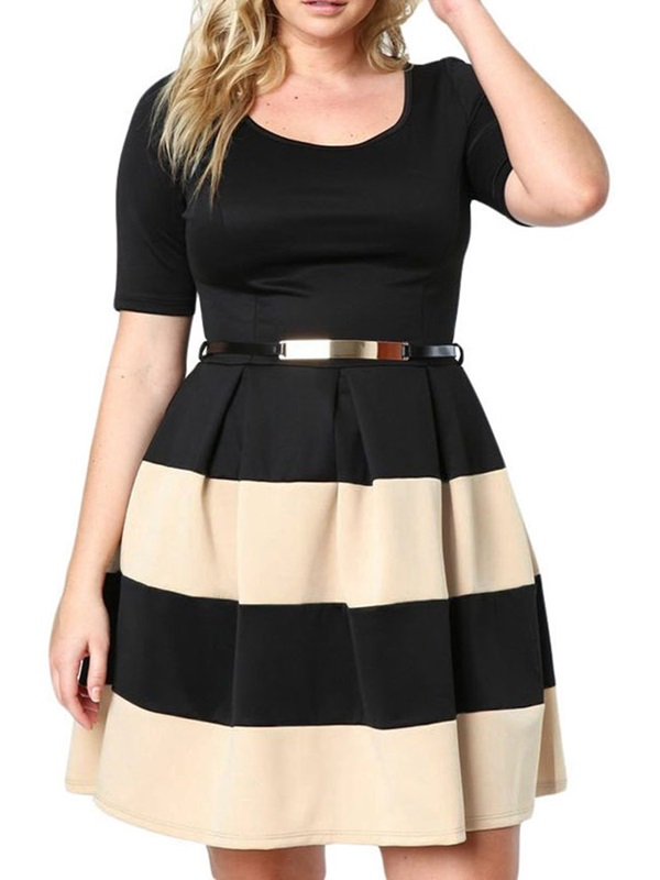 Plus Size Above Knee Patchwork Short Sleeve Women's Dress