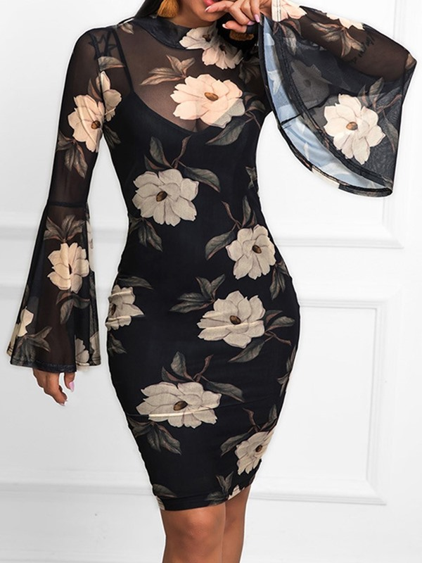 Above Knee See-Through Stand Collar Floral Women's Bodycon Dress