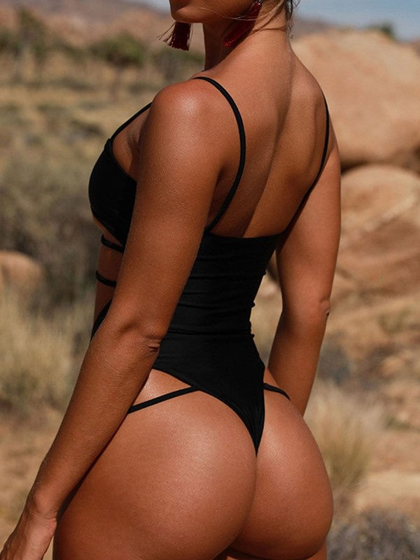 Sexy Plain One Piece Swimwear