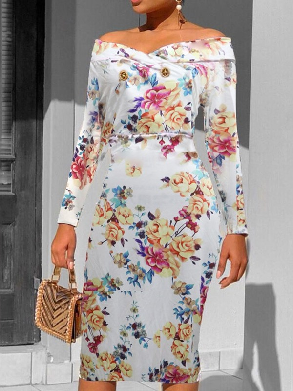Off Shoulder Button Mid-Calf Ladylike Floral Women's Dress