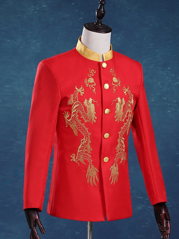 Floral Embroidery Blazer Pants Single-Breasted Men's Dress Suit