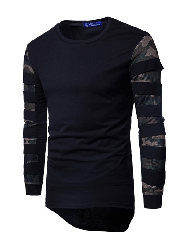 Camouflage Patchwork Round Neck Long Sleeve Men's T-Shirt