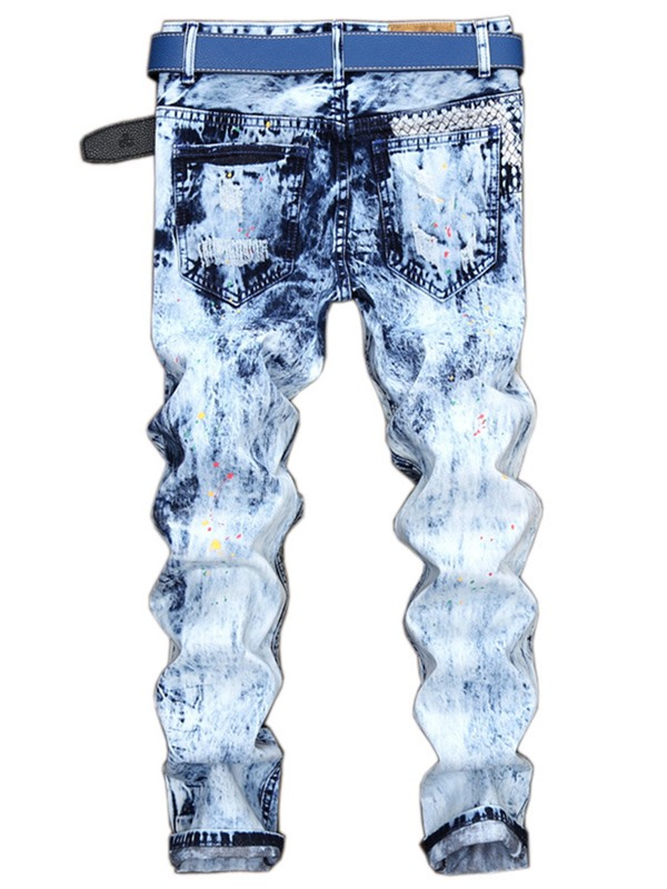 Hole Worn Straight Zipper Men's Ripped Jeans