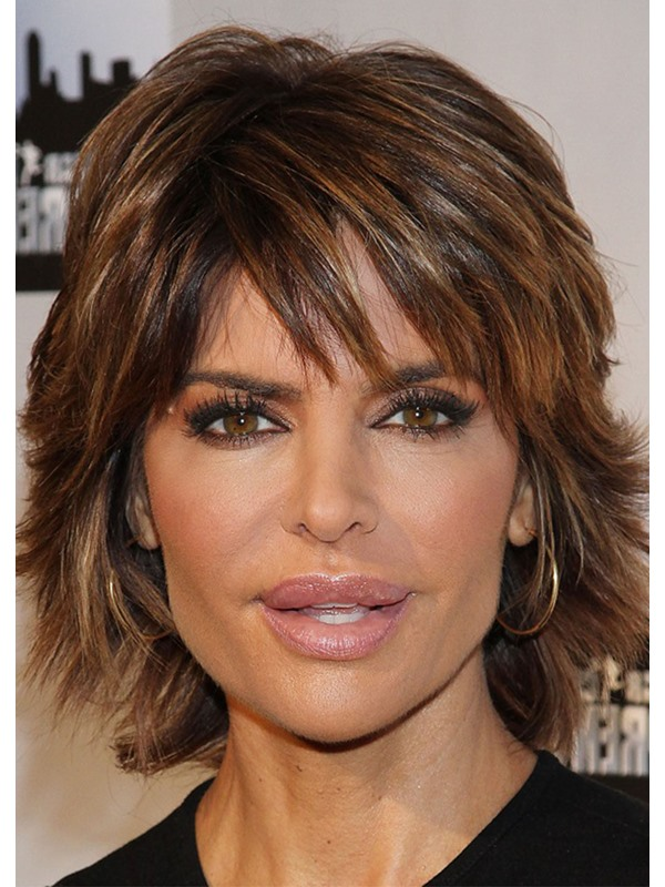 Natural Looking Women'S Short Shaggy Straight Human Hair Wigs Lace Front Wig 16inch