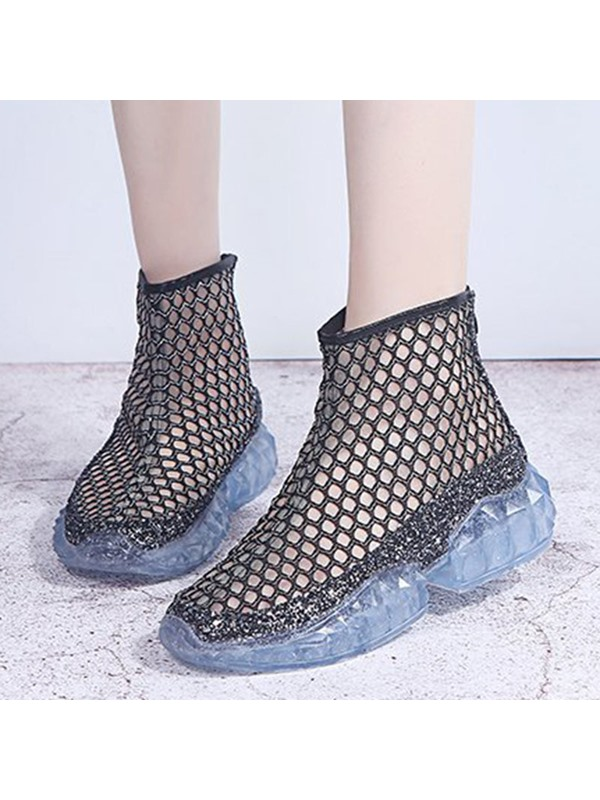 Back Zip Round Toe Mesh Women's Sneakers