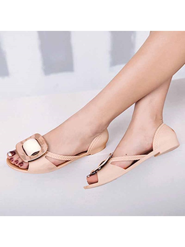 Heel Covering Slip-On Block Heel Jelly Sandals