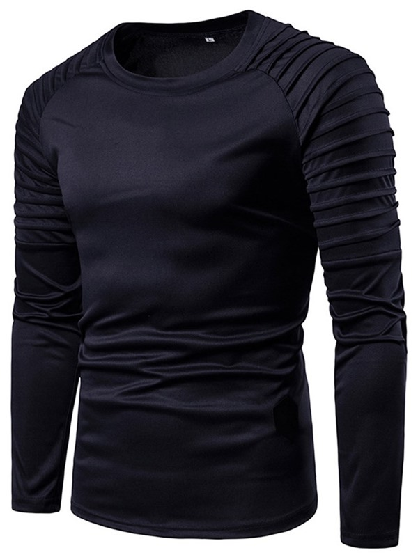 Round Neck Pleated Long Sleeve Men's T-Shirt