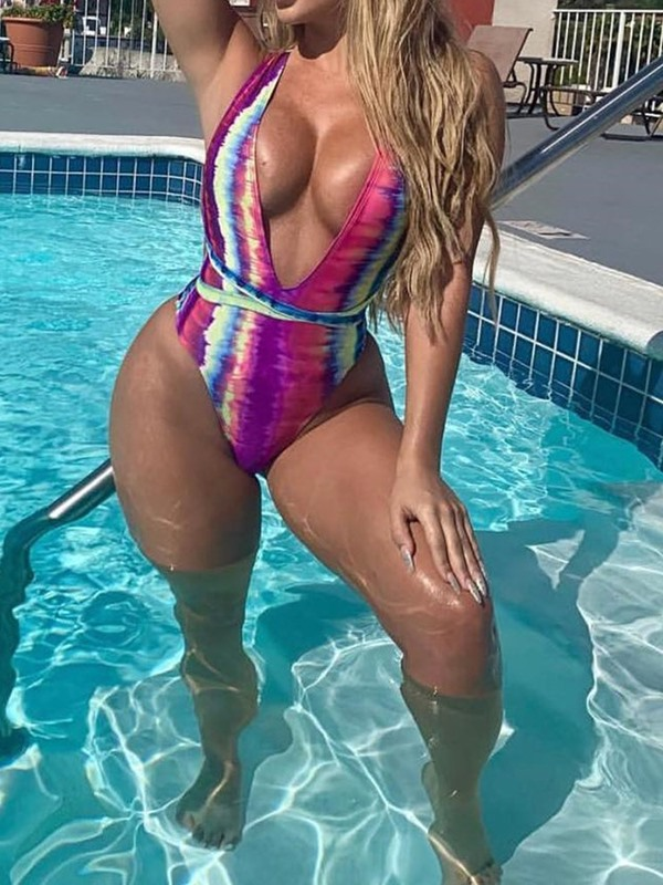 Color Block Cross Lace-Up Sexy One Piece Swimwear