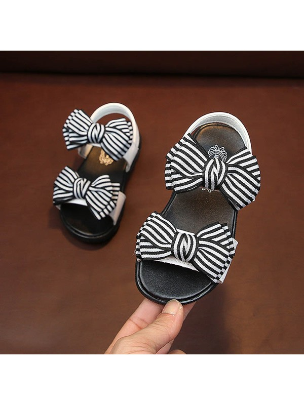 Color Block Low-Cut Upper Sweet Bow Girl's Sandals