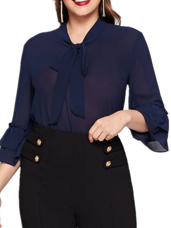 Plus Size Plain Ruffle Sleeve Bowknot Women's Blouse