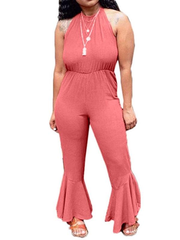 Office Lady Full Length Plain Thin Women's Jumpsuit