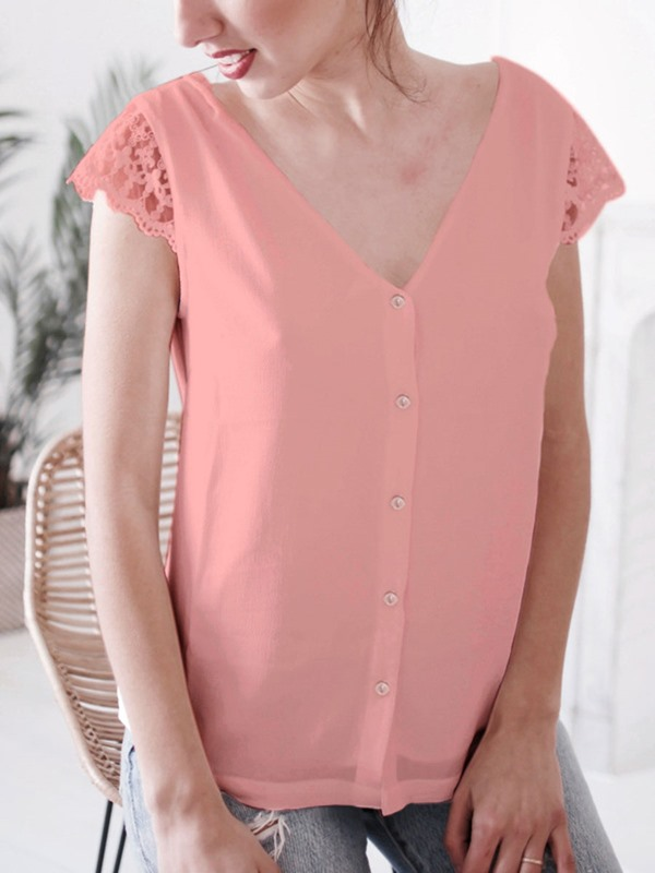 Lace V-Neck Backless See-Through Patchwork Women's Blouse