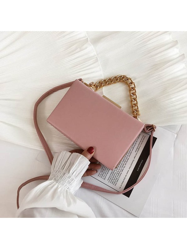 PU Plain Chain Flap Crossbody Bag