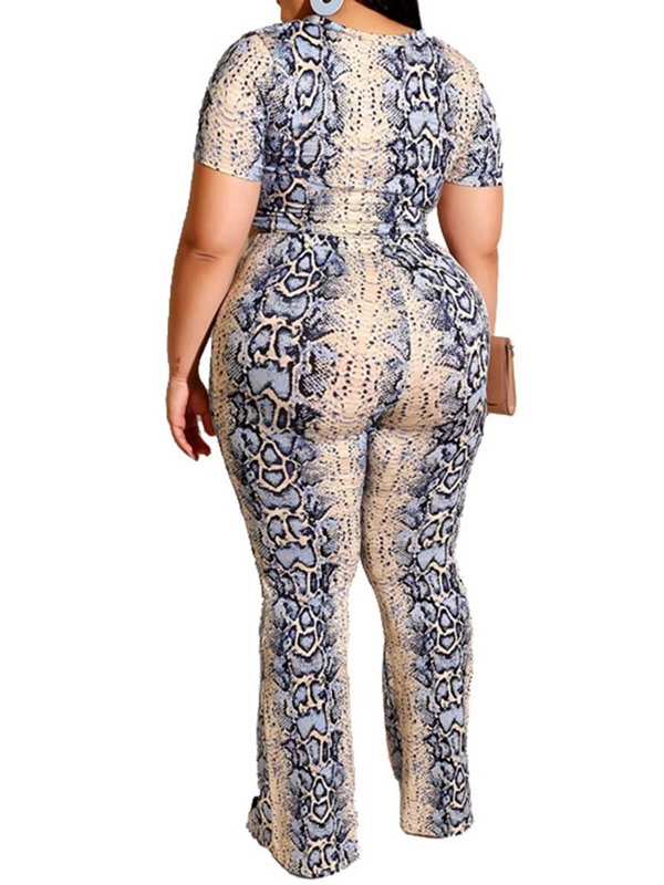 Plus Size Print T-Shirt Office Lady Pullover Women's Two Piece Sets