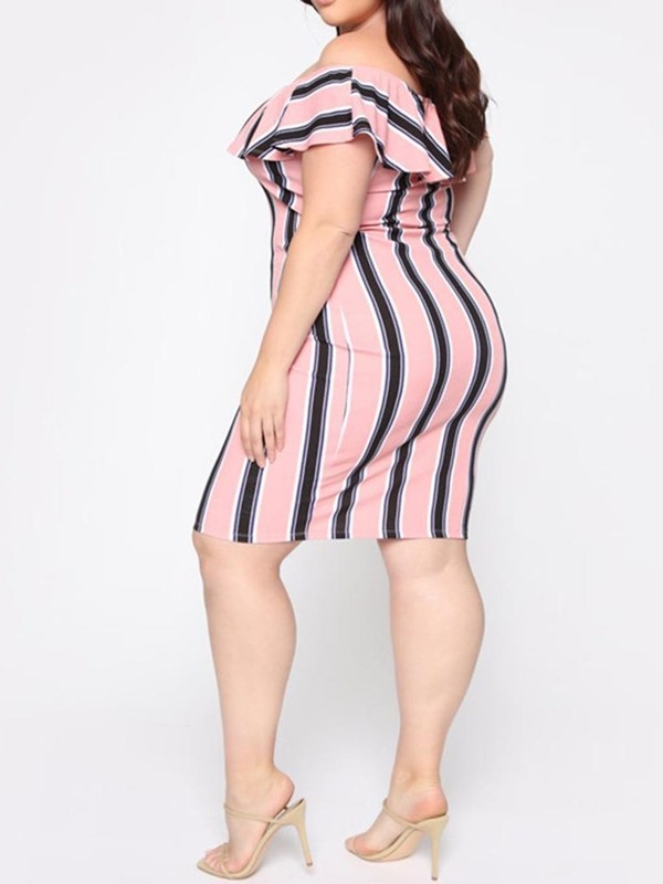Plus Size Knee-Length Print Off Shoulder Pullover Women's Dress