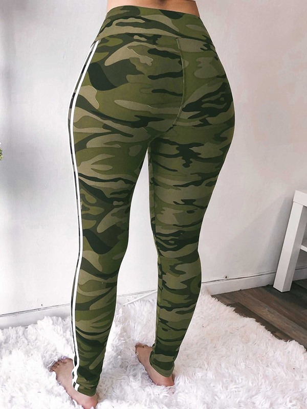 Skinny Print Camouflage Full Length Women's Casual Pants