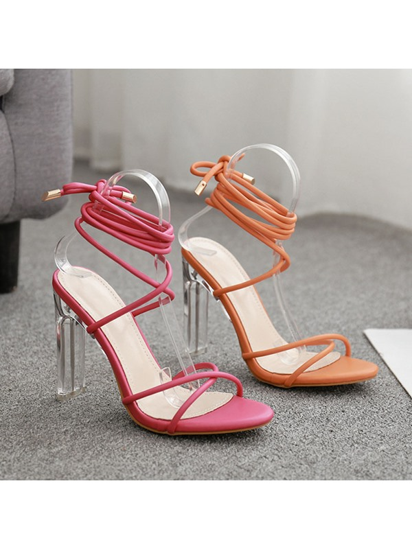 Neon Chunky Heel Lace-Up Open Toe Western Sandals