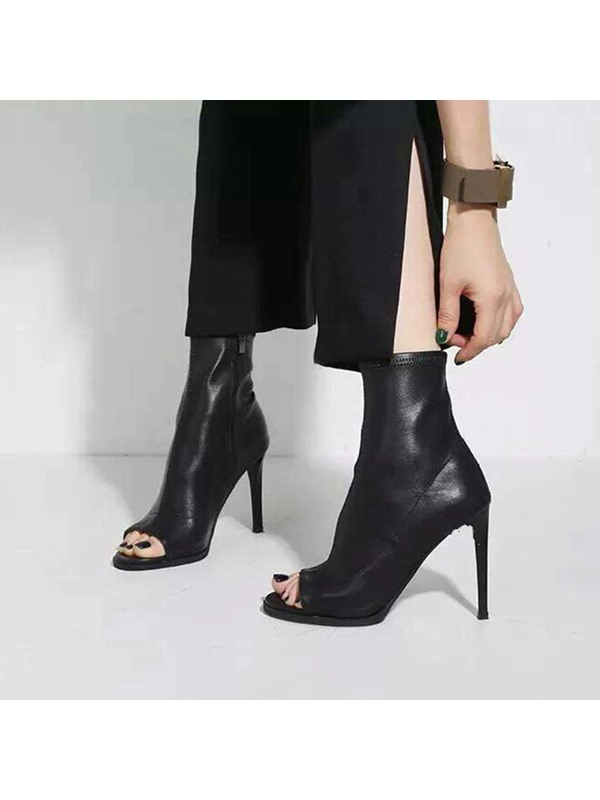 Stiletto Heel Open Toe Slip-On High Top Ankle Boots