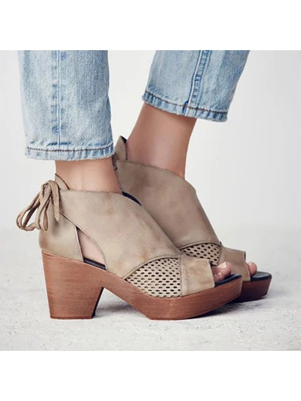 Lace-Up Heel Covering Open Toe Vintage Sandals