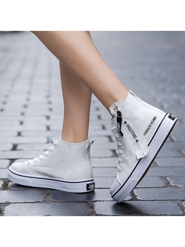 Round Toe Zipper High Top Canvas Shoes