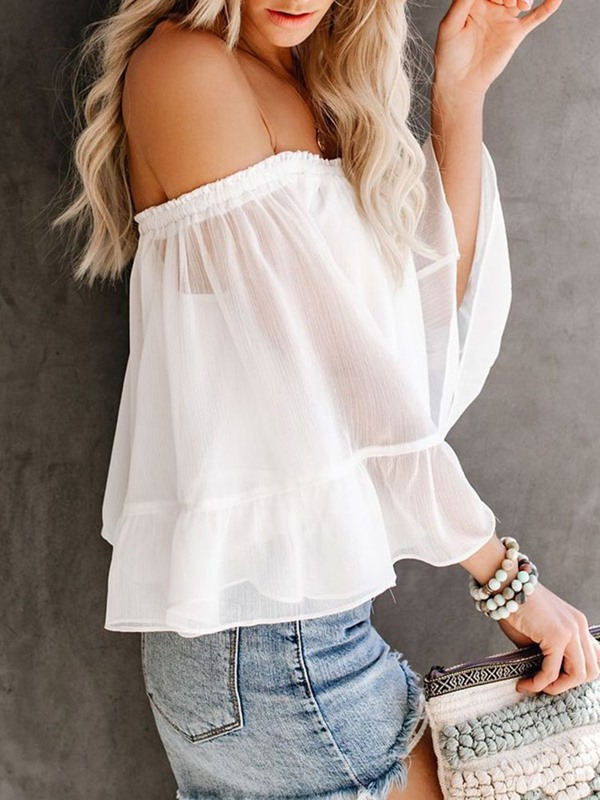 Plain Off Shoulder Pleated Women's Blouse