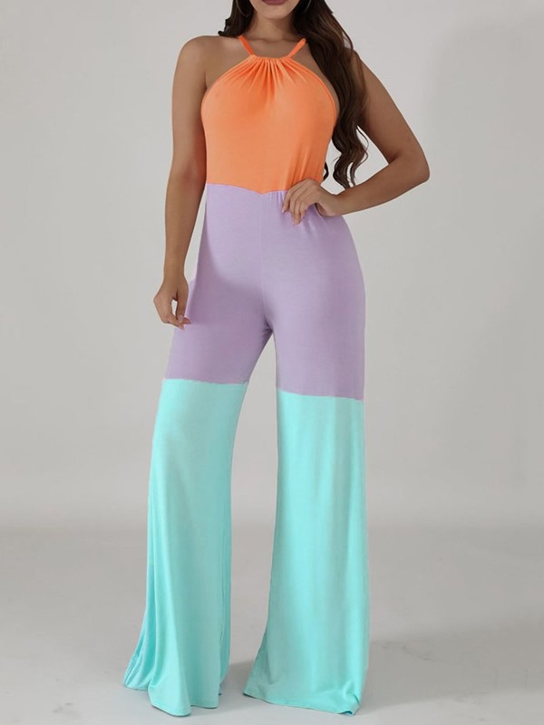 Full Length Patchwork Casual Straight Mid Waist Women's Jumpsuit