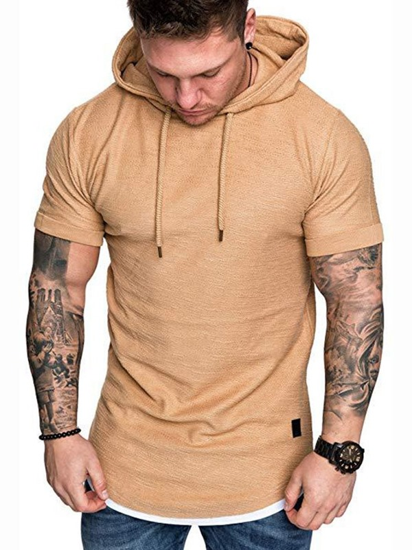Hooded Plain Casual Lace-Up Short Sleeve Men's T-Shirt
