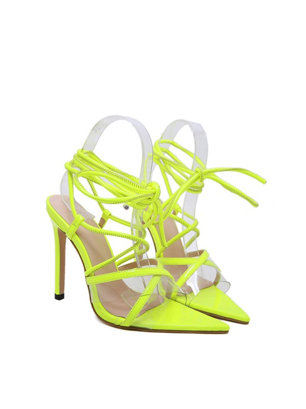 Neon Open Toe Strappy Lace-Up Cross Strap Sandals