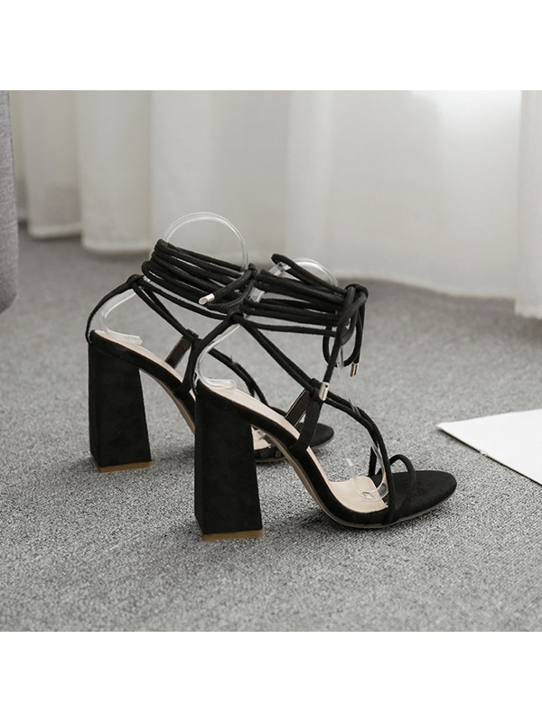Strappy Chunky Heel Open Toe Cross Strap Sandals