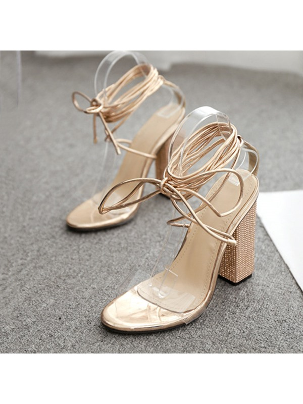 Chunky Heel Lace-Up Open Toe Rhinestones Prom Sandals