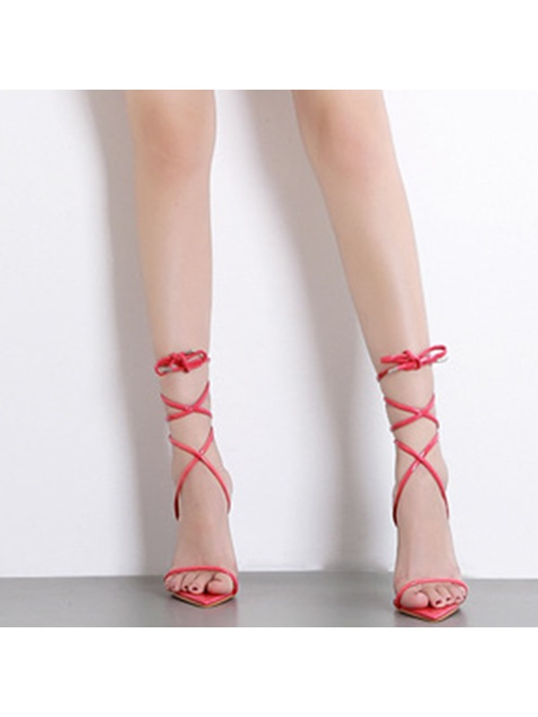 Neon Open Toe Ankle Strap Lace-Up Casual Sandals