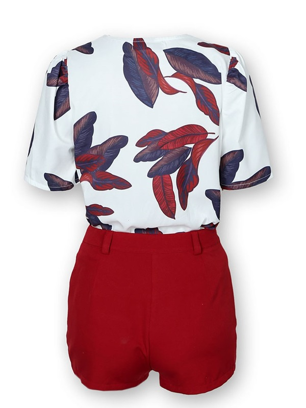 Shorts Plant Casual V-Neck Pullover Women's Two Piece Sets