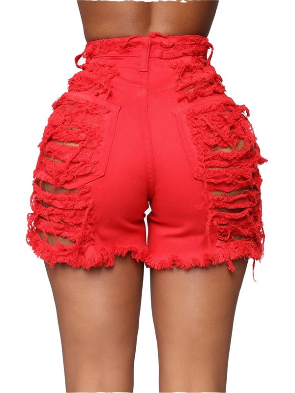 Plain Hole Straight High Waist Slim Women's Shorts