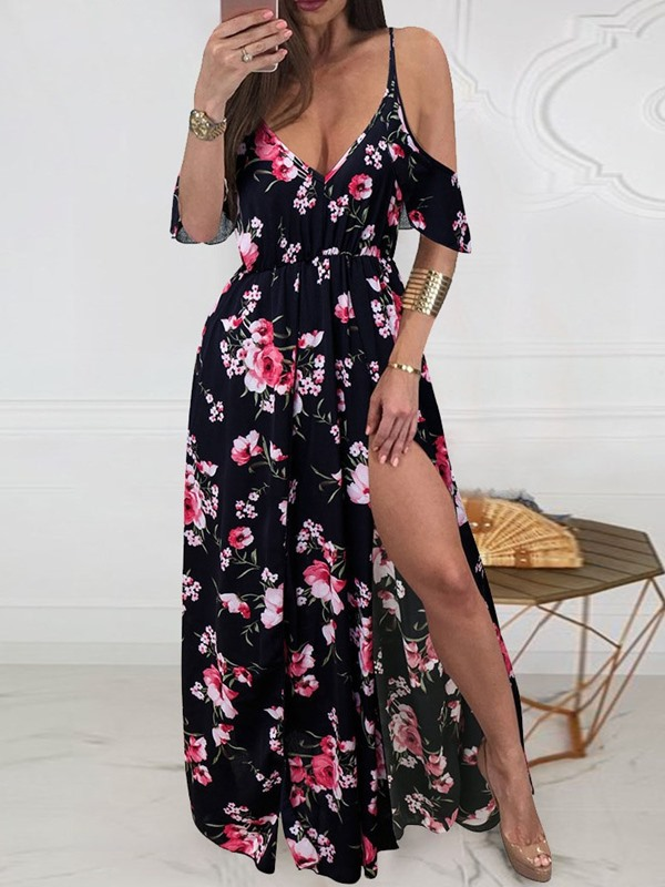 V-Neck Floor-Length Print Pullover Women's A-Line Dress