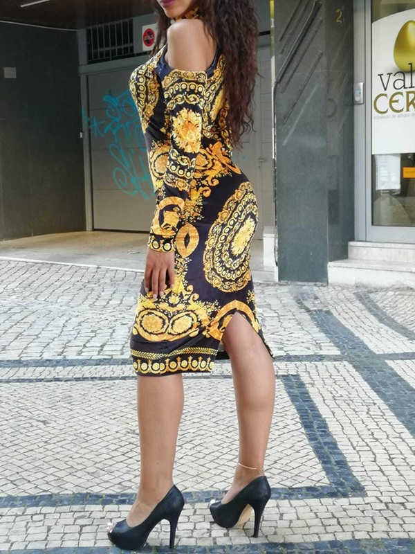 African Fashion Mid-Calf Stand Collar Print Ethnic Bodycon Dress