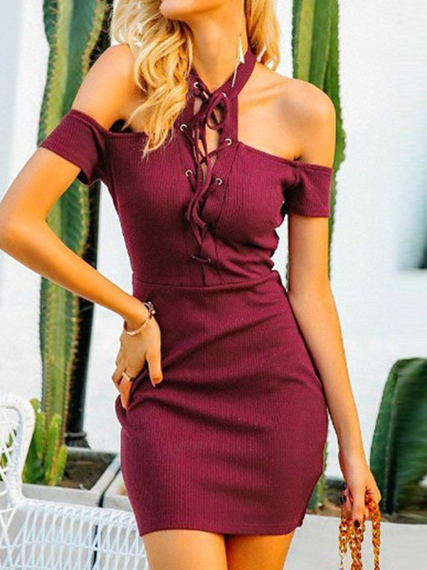 Short Sleeve Lace-Up Above Knee Halter Women's Bodycon Dress