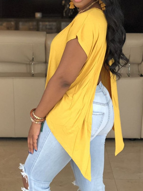 Plus Size Plain Asymmetric Backless Women's T-Shirt