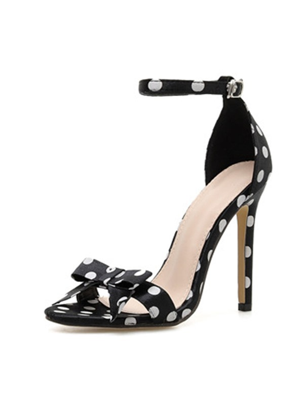 Stiletto Heel Buckle Heel Covering Polka Dot Sandals